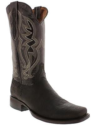 Veretta Boots - Men's Brown Crocodile Belly Design Leather Boots Square Toe