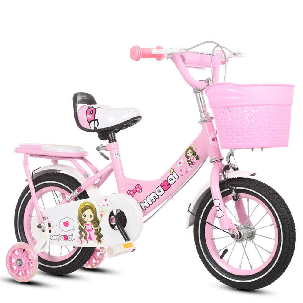 Pink 1-1 Girl Kids Bike Adjustable Height Flash PU wheels Mountain Bicycle Double Brake Safety Damping 12 Inches