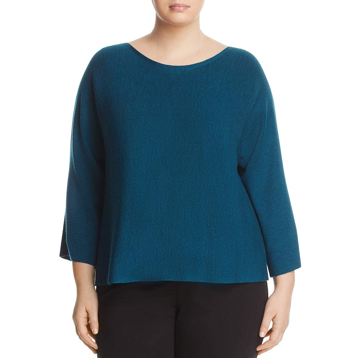 EileenFisher Womens Plus Wool Bateau Neck Sweater Eileen Fisher R7JNW4497X