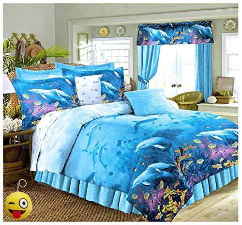 - Tropical Living Dolphins Cove Sea Life Blue Comforter & Sheet Set (8pc Queen Size 86