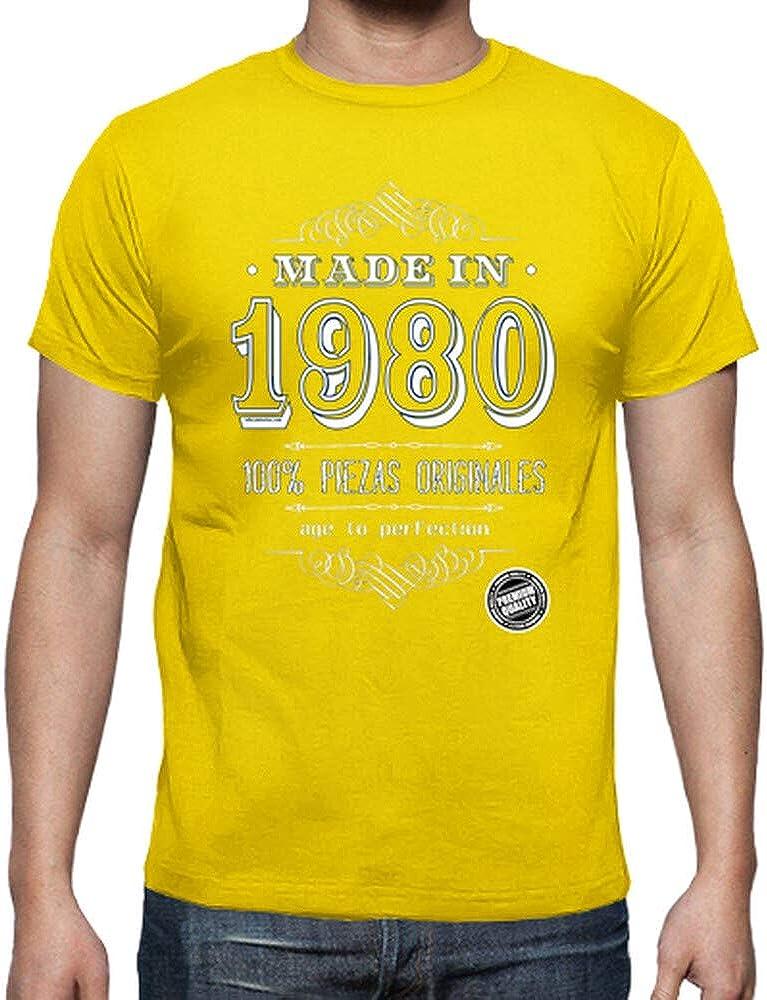 latostadora - Camiseta Made In 1980 para Hombre Amarillo limón M: educamisetas: Amazon.es: Ropa y accesorios