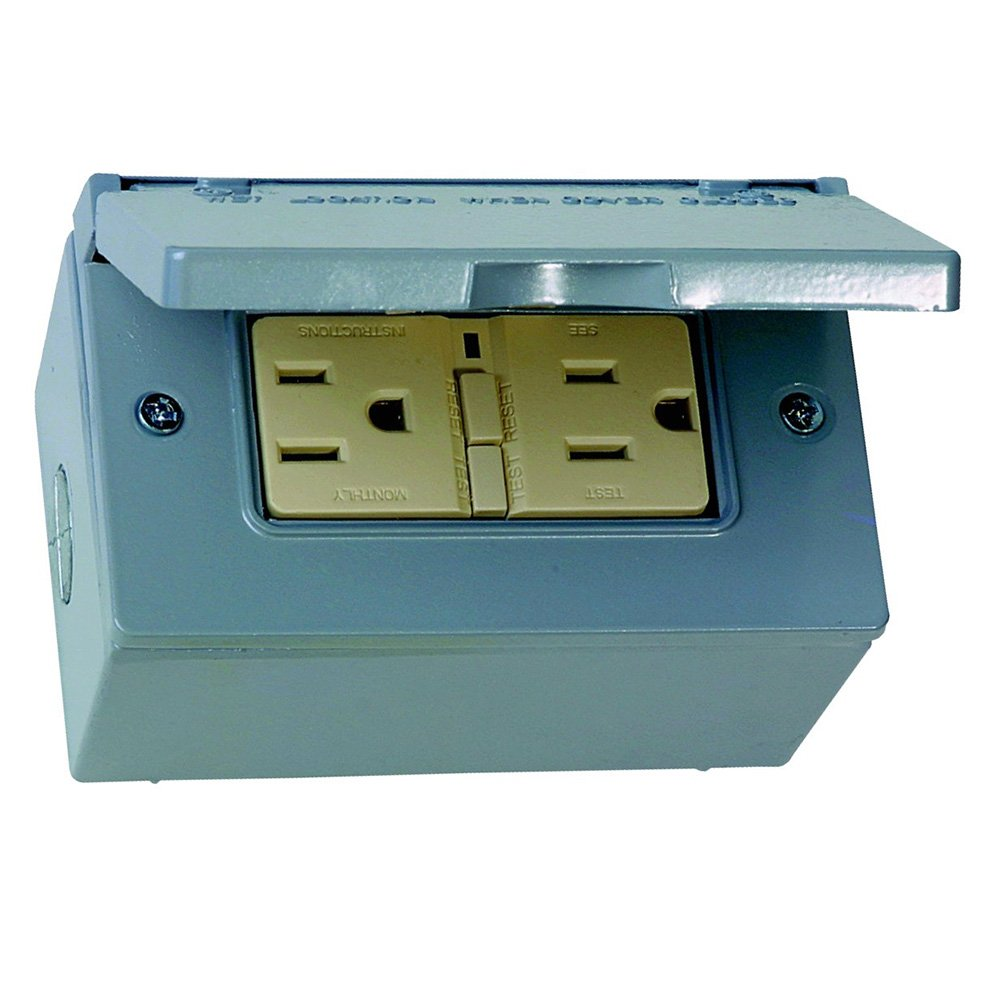 Sigma Electric 16449 Kit of Rectangular Box, Cover and GFCI Receptacle, Grey