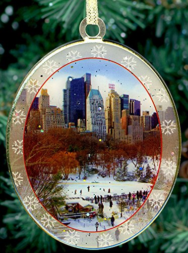 New York City Christmas Ornament - Wollman Rink in Central Park- Christmas Tree Ornament from Holidays in NYC Collection - Doublesided with - New York City Christmas Trees