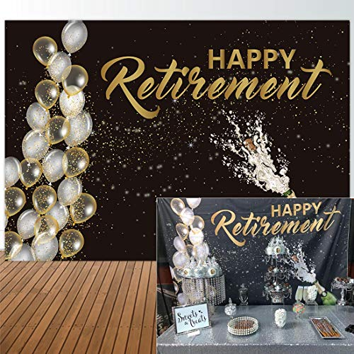 Allejoy Fabric 7x5ft Happy Retirement Backdrop for Party Event Decorations Photography Pictures Champagne Balloon Officially Congrats Retire Background Themed Prom Ceremony Decor Banner Photo - Happy Personalized Holiday Photo