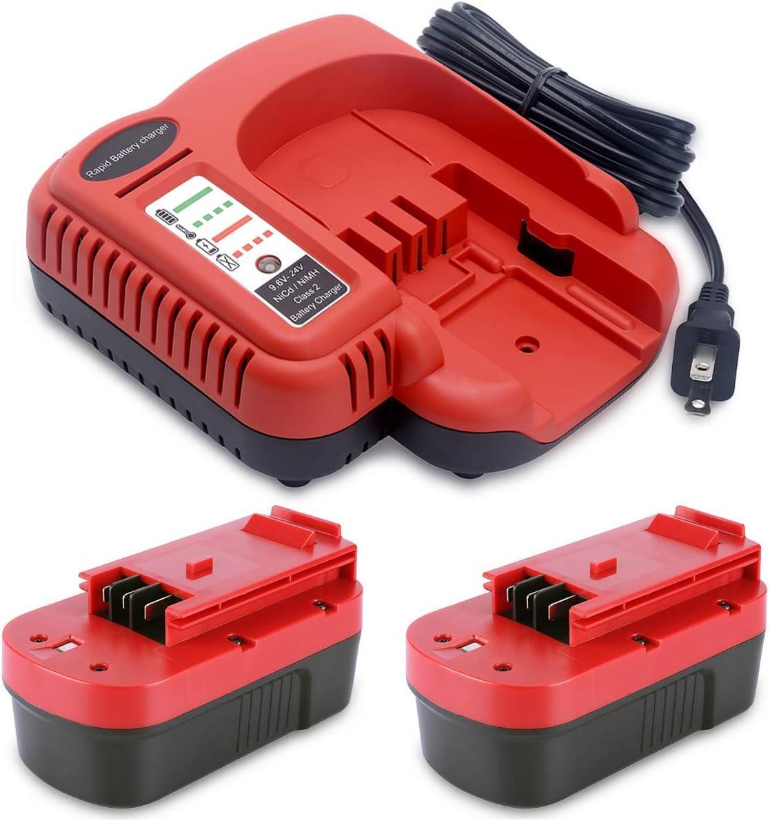 Biswaye 2-Pack 18V Battery HPB18-OPE for Black+Decker 18V Outdoor Cordless Power Tools, and Charger BDFC240 FSMVC BDCCN24 for Black+Decker 9.6V-18V-24V NiCad NiMh Battery
