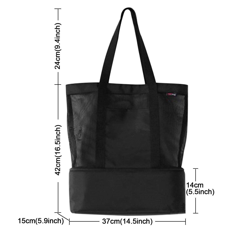 OKPOW Double Layer Mesh Beach Bag Tote Picnic Organiser Shopping Handbag Black