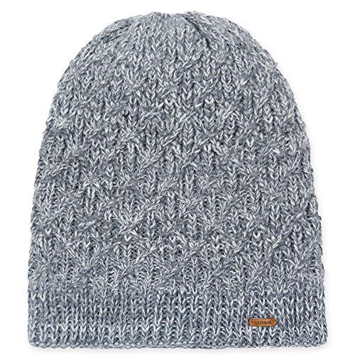 lethmik Diamond Knit Beanie Hat, Winter Slouchy Daily Warm Unique Ski Skull Cap Light Grey - Womens Knit Cap