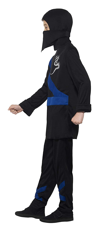 SmiffyS 21073M Disfraz De Asesino Ninja Con Capucha Y Máscara Parte De Arriba, Negro / Azul, M - Edad 7-9 Años