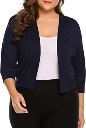 Womens Plus Size Solid Sweathers Classic 3/4 Sleeve Knit Open Front Cropped Cardigans