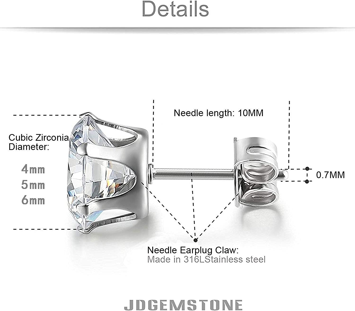 JDGEMSTONE Stainless Steel Silver Gold 6Pairs Cubic Zirconia Stud Earrings Set Christmas Gift for Women Men Round,Square