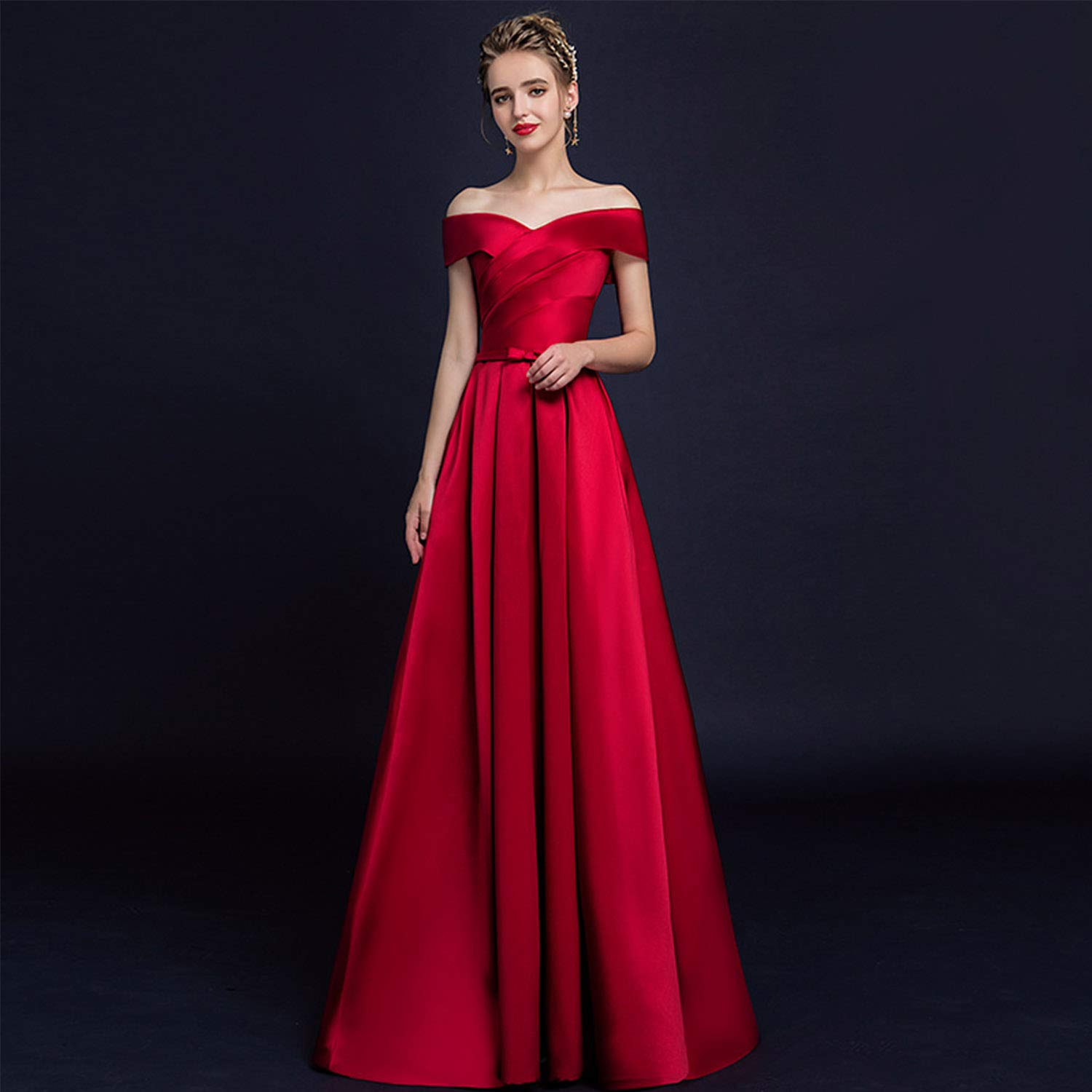 Amazon Cjjc Simple Elegant Red Wedding Dresses For Bride Sexy Slim Floor Length Ruched Backless Women Ceremony Party Banquet Use: Elegant Ed Wedding Dresses At Reisefeber.org