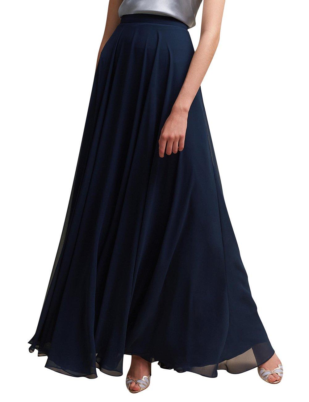 ISABUFEI Women's Bohemian High Waist Solid Full Length Beach Maxi Skirt ISA001SKIRT