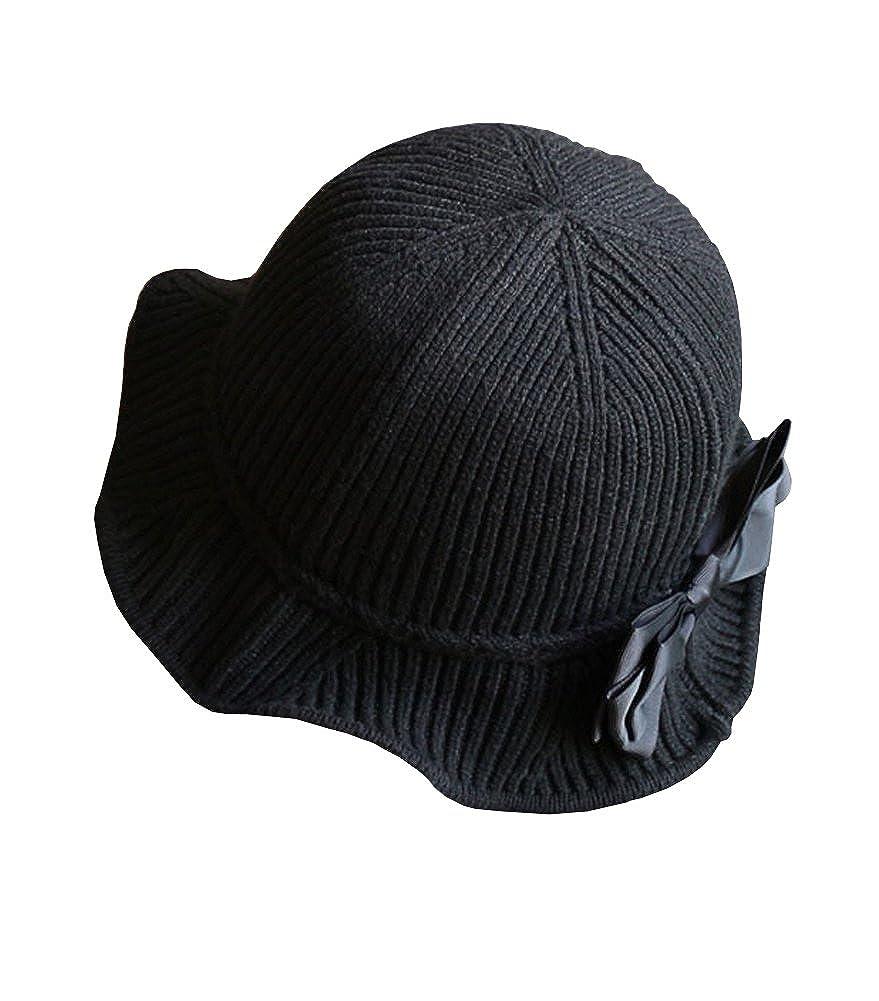 EXCHIC Donne Cappello in Maglia con Fiocco Cloche Derby Secchio Cappelli Cappelli