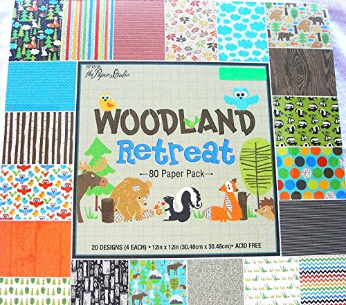 Woodland Retreat 12x12 Scrapbooking Paper Pack, Fox, Moose, Bear, Skunk, Owl, Trees etc. 80 -