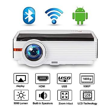 Proyector WiFi con Bluetooth, 5000 lúmenes Full HD 1080P Soportado ...