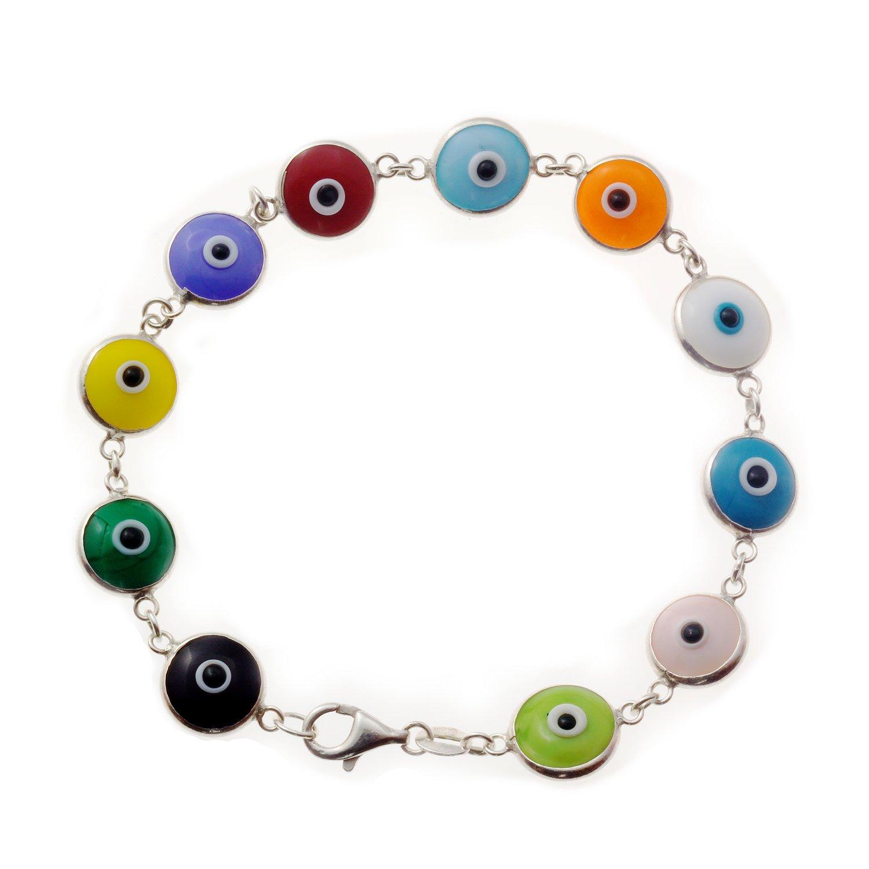Love & Lucky Sterling Silver Evil Eye Bracelets, 7.5 inches (Multicolor)