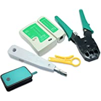 NUZAMAS Ethernet LAN RJ11 RJ45 CAT5 Cable Tester Network Analyzer Wire Crimping Crimper Stripper Tool Kit Punch-down…