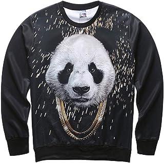 Italily Uomo Casuale 3D Felpa Stampare Panda Camicetta Hip Hop Manica Lunga Accostare Superiore Casual Patchwork O-Neck Manica Lunga T-Shirt Pulover Felpa con Cappuccio