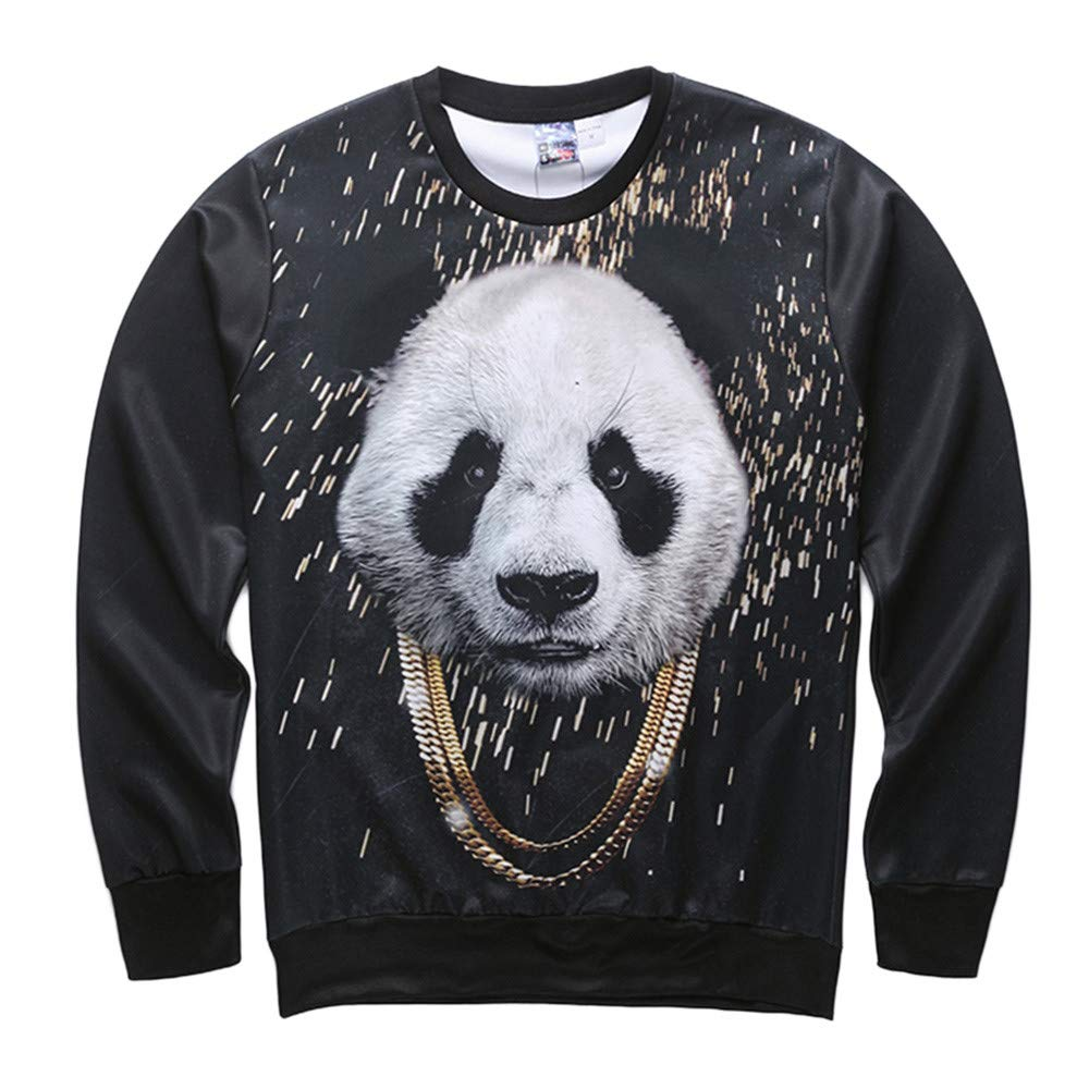 Corriee Fashion Tops for Men 2018 Casual Panda Lion Printed Long Sleeve Sweatshirts Chic 3D Print Hip Hop Pullover Top by Corriee Men Tops