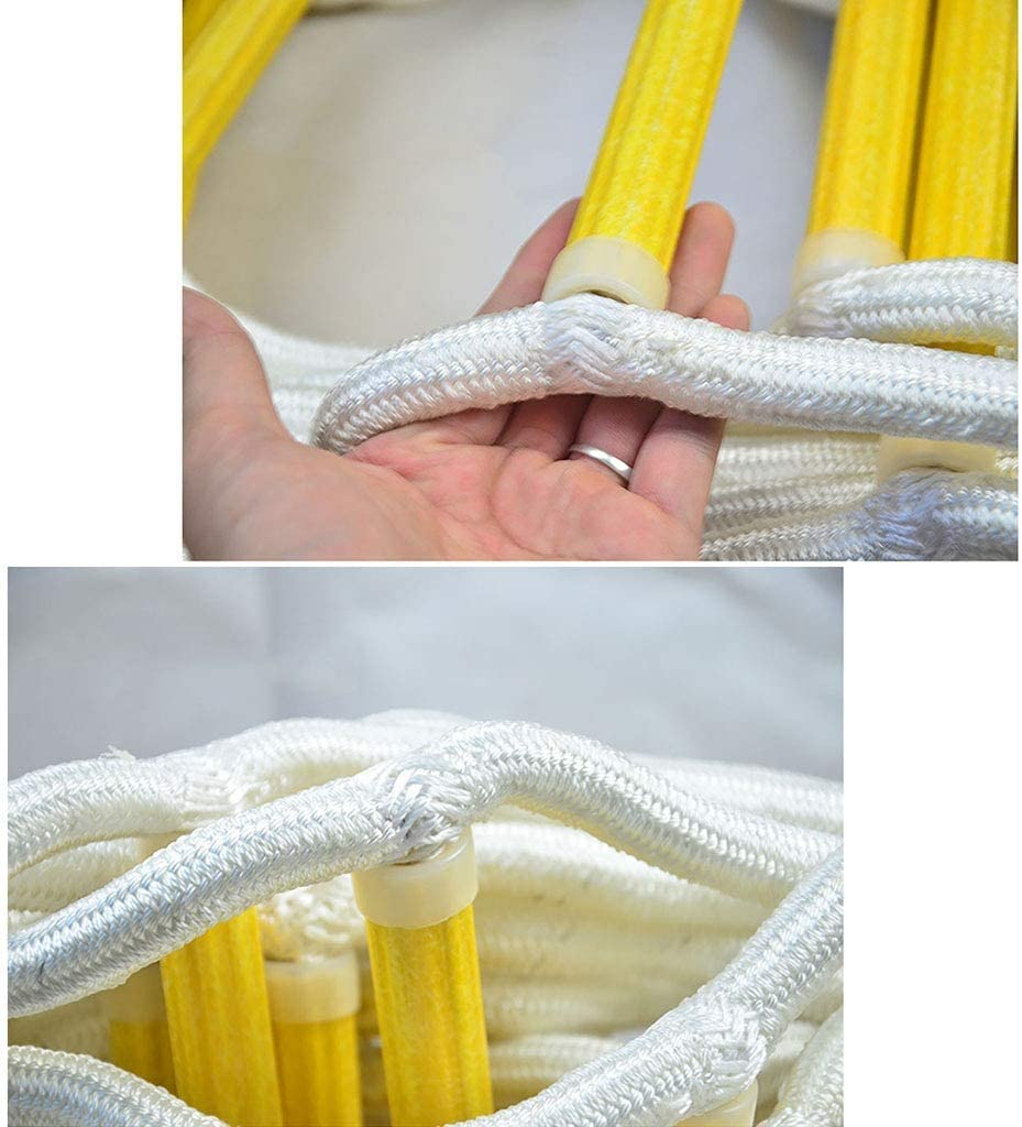 Non-slip Wear-resistant Emergency Escape Polyester Soft Rope Ladder Multiple Lengths Optional WSJ Fire Rescue Escape Ladder with 2 Hooks Size : 15m//49ft