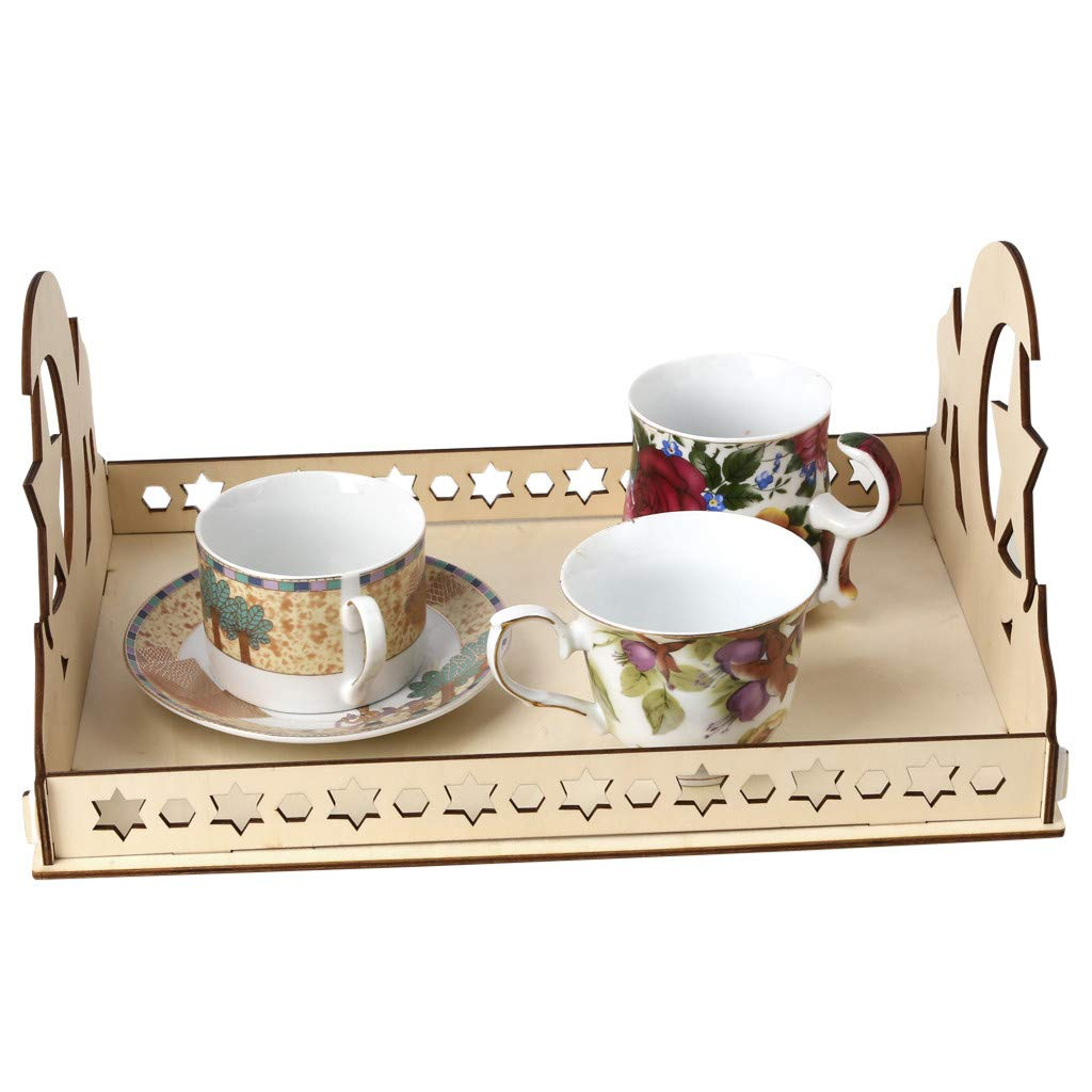 Staron Wood Serving Tray Wooden Artistic Eid Serving Tableware Tray Display Wood Decoration Food Drink Breakfast Trays (C) by Staron  (Image #6)
