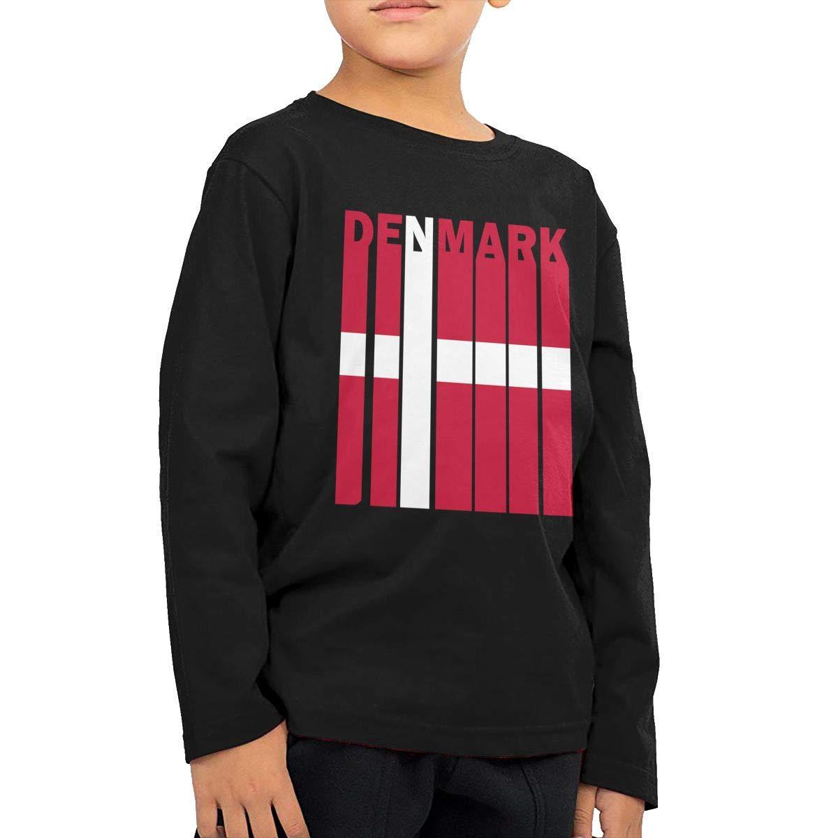 SHIRT1-KIDS Denmark Flag Word Toddler//Infant O-Neck Long Sleeve Shirt Tee Jersey for Toddlers