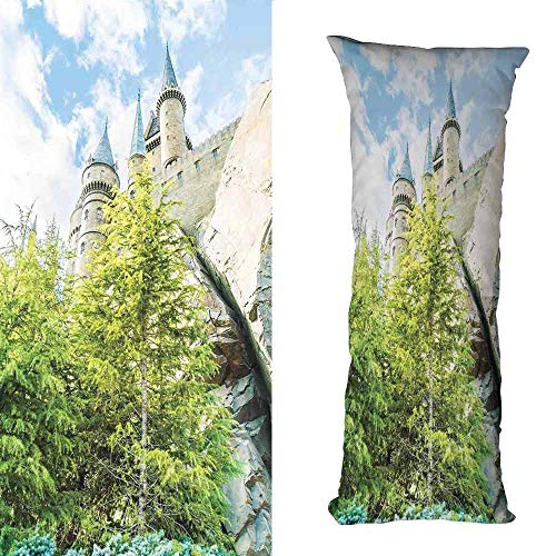 DuckBaby Living Room Sofa Hug Pillowcase Wizard Witchcraft School and Wizard Castle in Woods Replica in Japan Picture Print with Hidden Zipper W16 xL47 Green Blue Beige