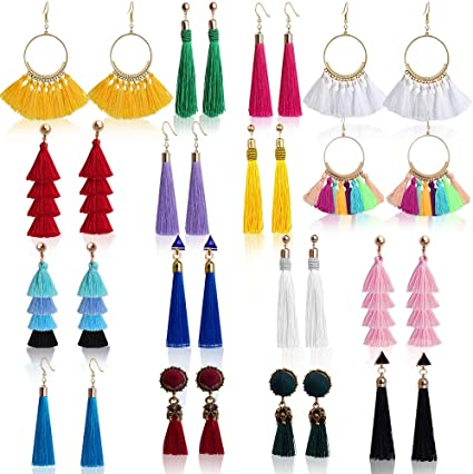 Sweet Bohemian Stud Hook Earrings Multi-color Layered Fringe Thread Long Tassel for Girls Women