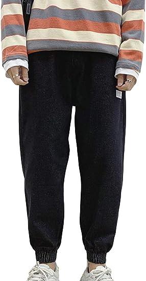 Aisaidunメンズ ジーンズ ストレッチパンツ 裏起毛 秋冬 ゆったり メンズ ハレムパンツ ポケット付き 暖かい 着痩せ 大きいサイズ ストレッチパンツ メンズ ジーンズ 防寒 保温