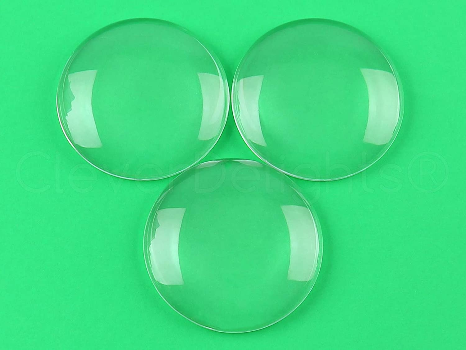 5 Pack 1//2 Thick Clear Magnifying Glass Dome Cabs CleverDelights 2.5 Round Glass Cabochons