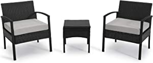 PCAFRS 3-Piece Patio Bistro Outdoor Conversation Sets, 1 Conversation Table & 2 pcs Rattan Sofas with Backrest, Soft Outdoor Garden Furniture Sets, Light Gray Cushion