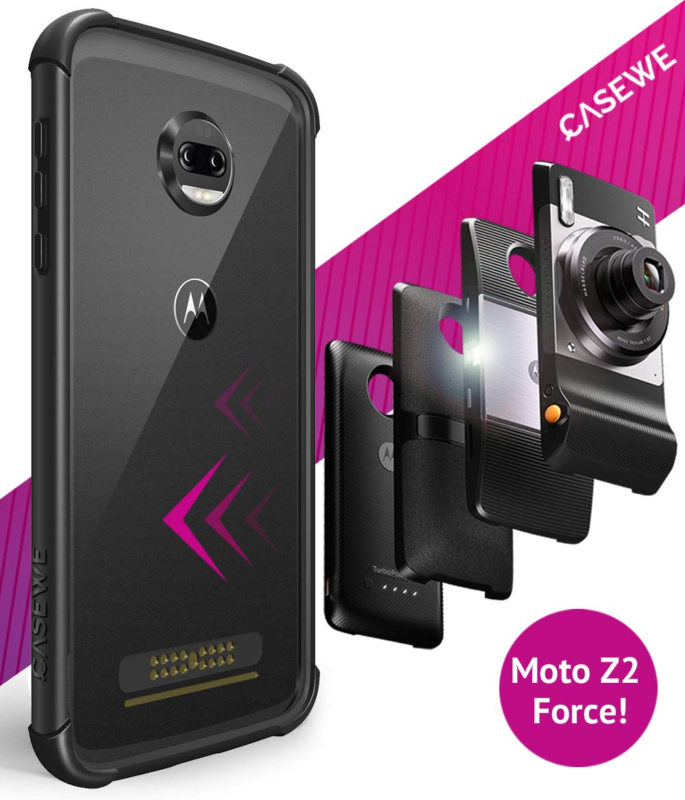 CaseWe - Motorola Moto Z2 Force Flexible TPU Protective Bumper Case Cover/Compatible with Moto Mods - All Black Matte by Casewe
