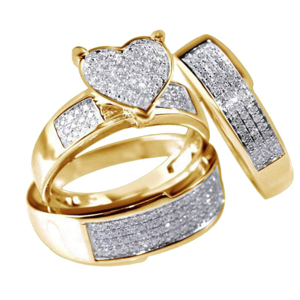 Toponly 3Pcs/Set Jewelry Yellow Gold Filled Heart White Sapphire Wedding Ring Size 6-10