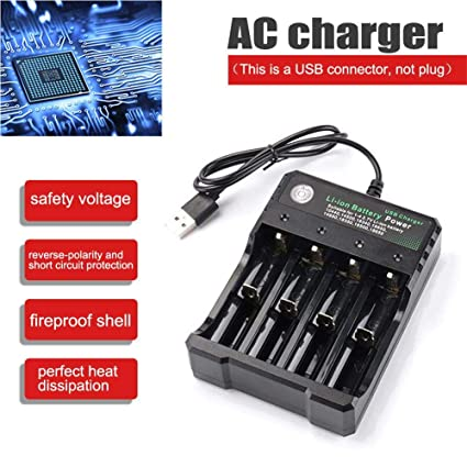Cargador de batería 18650 con 4 Ranuras baterías de Iones de Litio Cargadores Amplificador de Reproductor USB Soporte de Carga Recargable múltiples ...