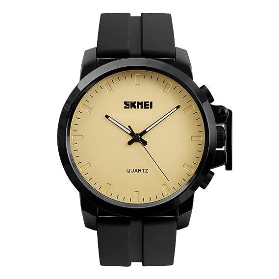 de cuarzo reloj de los hombres relojes grandes del dial de oro noble de silicona negro de la correa de caucho para los estudiantes reloj con clase ...