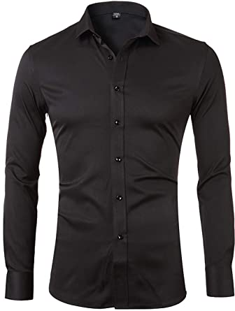 4182190b95 Men's Bamboo Fiber Dress Shirts Slim Fit Solid Long Sleeve Casual Button  Down Shirts, Elastic