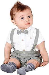 Morwind Bambini Baby Ragazzi Estate Gentleman Bowtie Manica Corta Camicia + Bretelle Pantaloncini Set Abbigliamento 18 Mesi Bimba Neonate Abbigliamento Bambina
