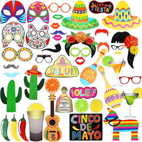 Mexican Fiesta Photo Booth Props, Selfie Props, Photo Booth Accessories, Party Supplies, Assorted Designs for Dia de Muertos, Theme Parties, Set of 45]()