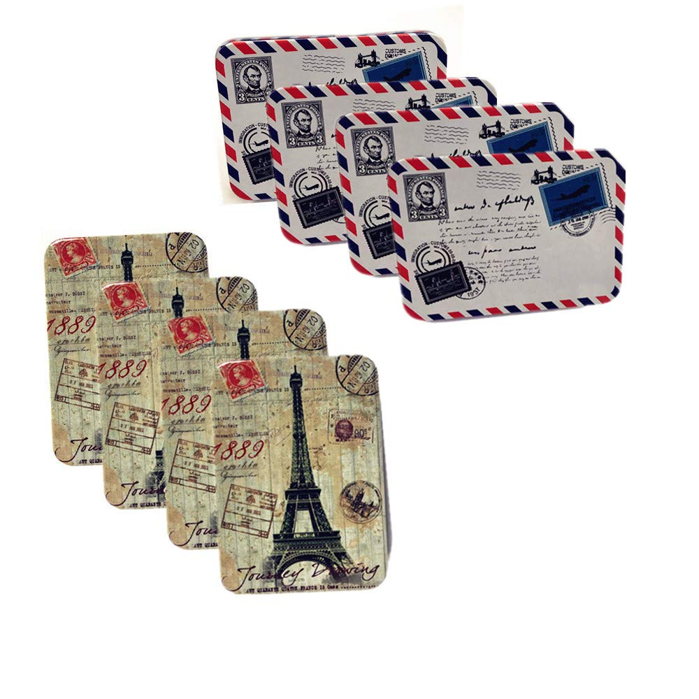8 pack Mini Tinplate Tin Box business cards Jewelry Cards Coin Storage Rectangular Bags Case - Paris Eiffel Tower and evelope pattern 3.75x2.55x1.15''