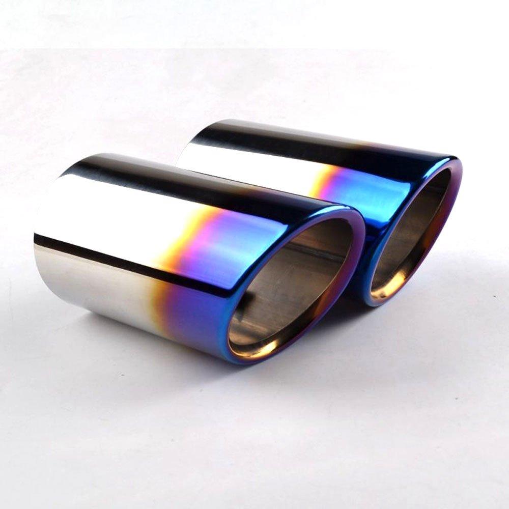 RunQiao 2 x Acero Inoxidable Silenciador Terminales Embellecedores de Tubo de Escape Cola de Punta (Azul): Amazon.es: Coche y moto