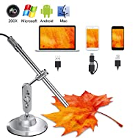 Microscopio USB Digital, 3 en 1 USB/USB C HD Endoscopio 10x a 200x Lupa Microscopio con Soporte, 8 LED Ajustable y Función OTG para Windows, Tablet, Android Smartphone y Mac