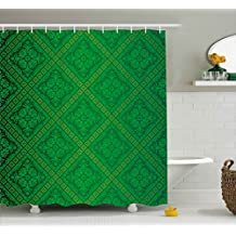 Ambesonne Green Decor Shower Curtain, Vector Illustration Seamless Pattern of Foliage Wallpaper Decorative Pattern, Fabric Bathroom Decor Set with Hooks, 84 Inches Extra Long, Forest Green