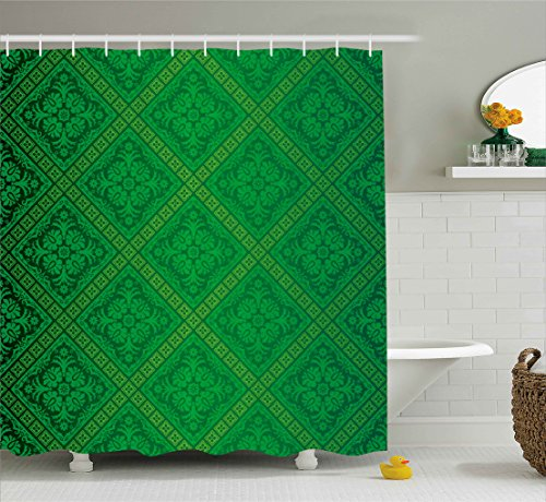 Ambesonne Green Decor Shower Curtain, Vector Illustration Seamless Pattern of Foliage Wallpaper Decorative Pattern, Fabric Bathroom Decor Set with Hooks, 84 Inches Extra Long, Forest ()