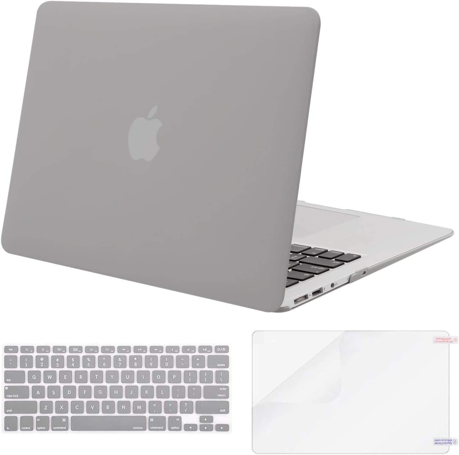 MOSISO Plastic Hard Shell Case & Keyboard Cover & Screen Protector Only Compatible with MacBook Air 13 inch (Models: A1369 & A1466, Older Version 2010-2017 Release), Neutral Gray