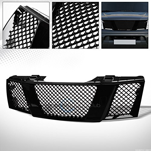 R&L Racing Glossy Black Finished Mesh Front Grill Hood Bumper Grille 2005-2008 for Nissan Frontier/Pathfinder