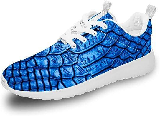 Mesllings Zapatillas de Running Unisex de Estilo Azul con patrón de Cuero Ligero para Deportes al Aire Libre: Amazon.es: Zapatos y complementos