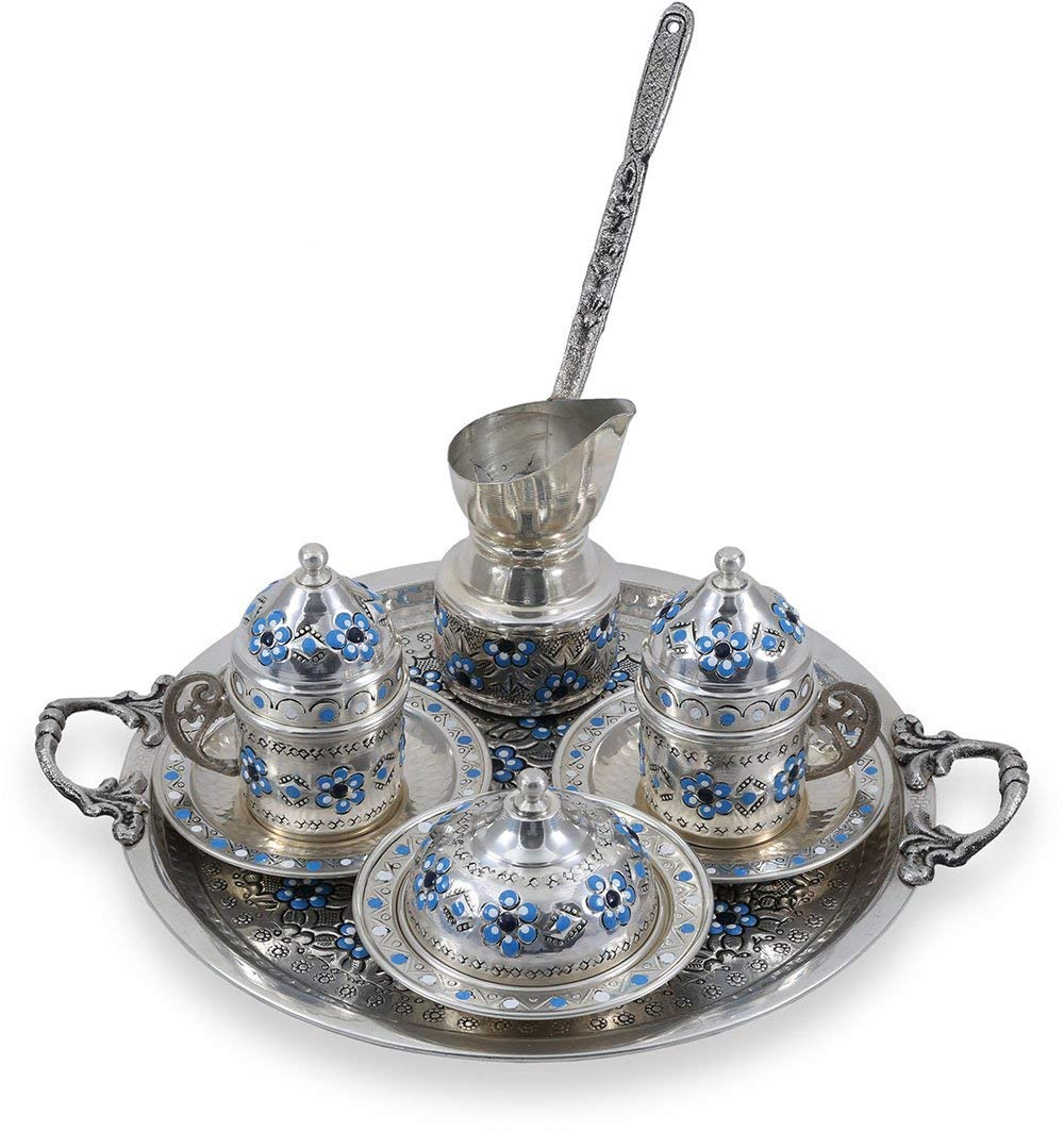 Greek Handmade Turkish Arabic Coffee Serving Set For Two Silver With Free Gift