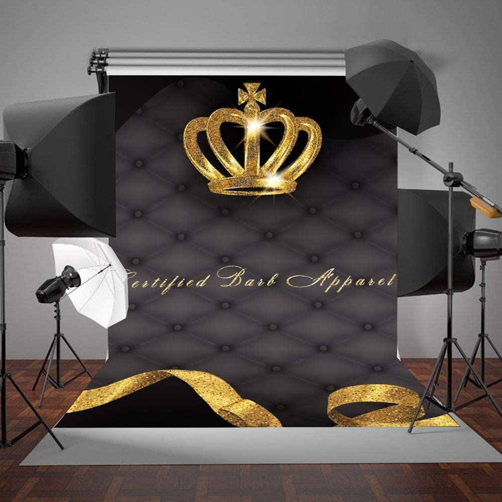 10x8ft Vinyl Custom Drawing Gold Crown Background LYZY1001 for Party Decoration Birthday YouTube Videos School Photoshoot Photo Background Props