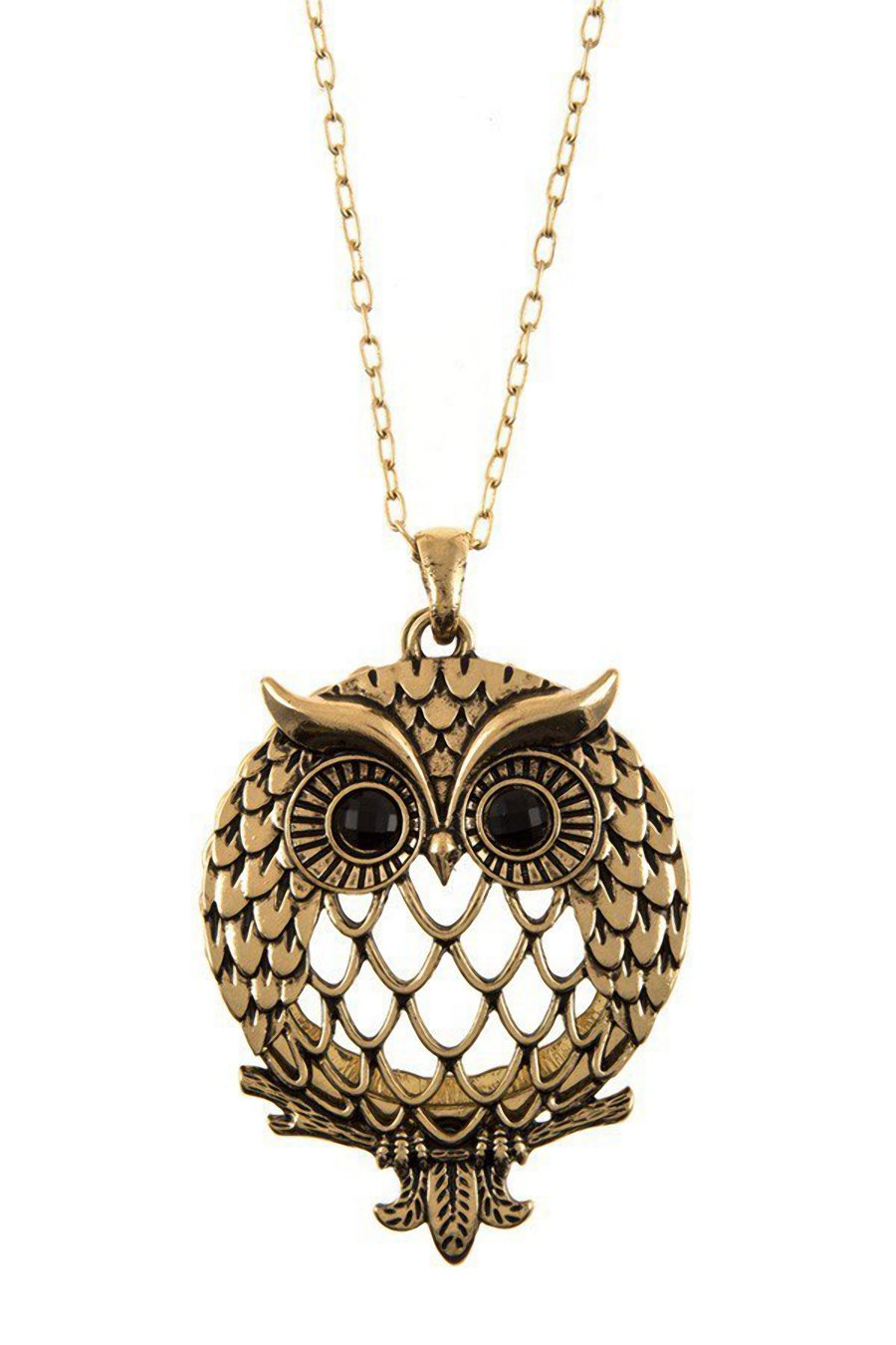 eVogues Magnifier Magnifying Glass Owl Pendant Sliding Top Necklace Gold Tone - One Size