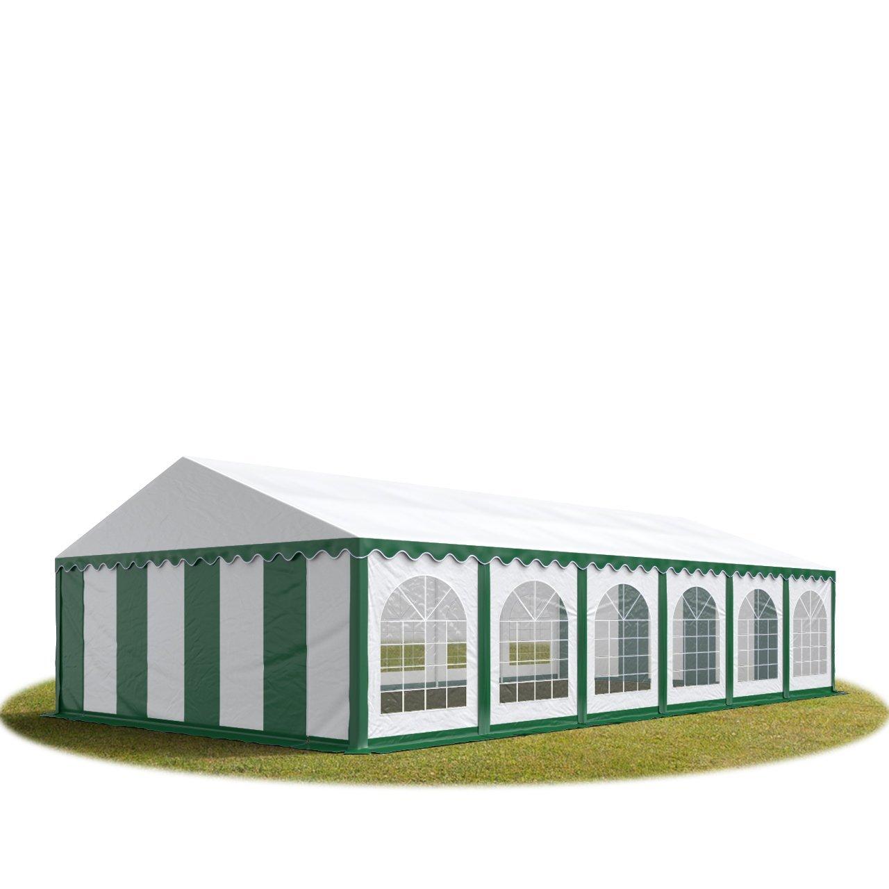 Festzelt Partyzelt 6x12m, hochwertige 500/m² PVC Plane in grün-weiß, 100% wasserdicht, vollverzinkte Stahlkonstruktion mit Verbolzung